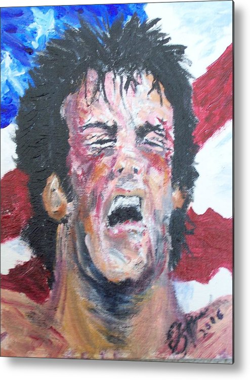 Stallone Metal Print featuring the painting Rocky by Francis Bourque