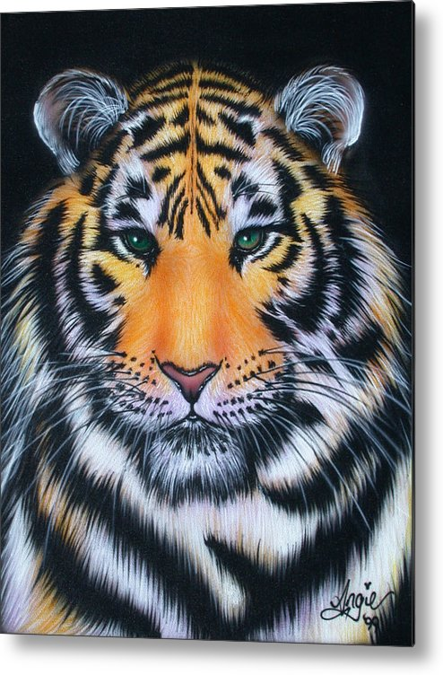 Tiger Metal Print featuring the painting Tiger 1 by Angie Hamlin