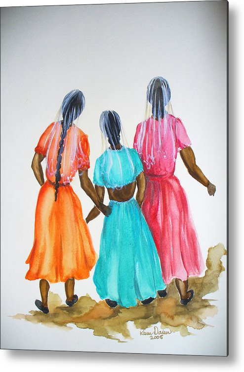 Three Ladies East Indian Metal Print featuring the painting 3bff by Karin Dawn Kelshall- Best