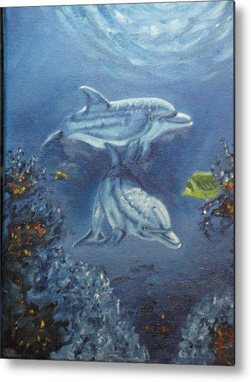 Dolphins Metal Print featuring the painting No Place Like Home by Charles Vaughn