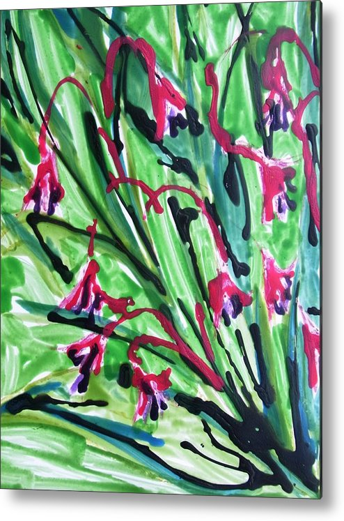 Abstract Paintings Green Yellow Metal Print featuring the painting Divine Flowers by Baljit Chadha