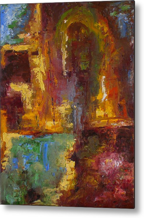 Abstract Metal Print featuring the painting 48 by Lou Ewers