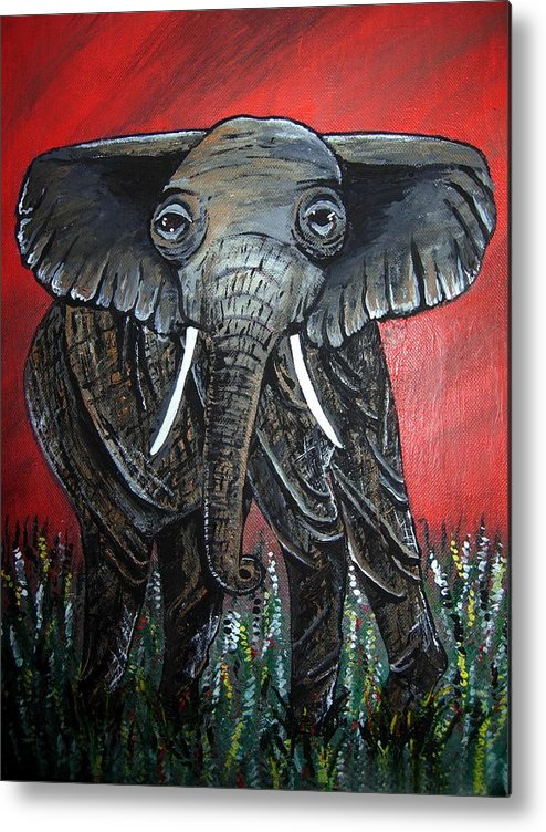 Elephant Metal Print featuring the painting A Crimson Kind Of Day by Sharon Supplee
