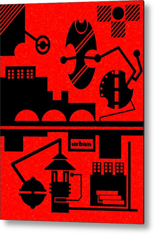 Contemporary Metal Print featuring the digital art Abstract Urban 05 by Dar Geloni