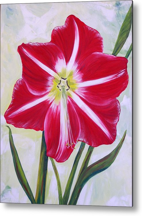 Flowers Metal Print featuring the painting Amaryllis by Murielle Hebert