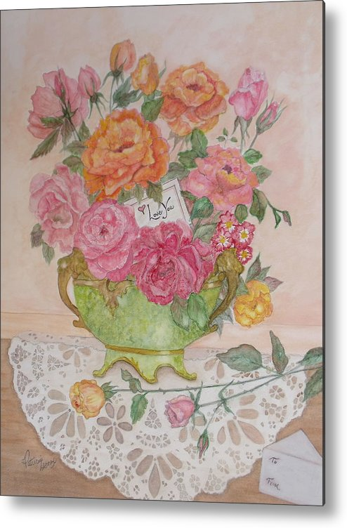Roses Metal Print featuring the painting Antique Bowl With Roses by Patti Lennox