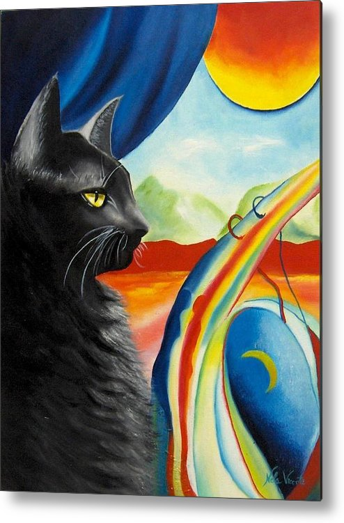 Surreal Cat Metal Print featuring the painting Any Time by Nela Vicente