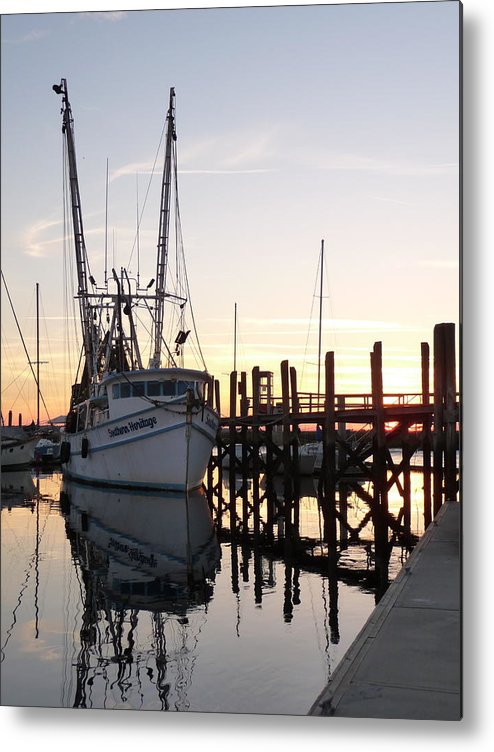 Twilight Shrimp Boat Docks Piers Pilings Sailboats Sunset Reflections Metal Print featuring the photograph April Afternoon by Joel Deutsch