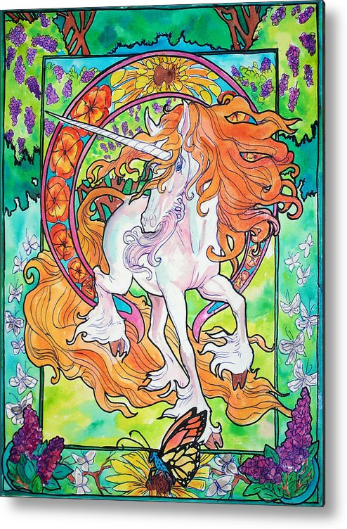 Unicorn Metal Print featuring the painting Art Nuevo Unicorn by Jenn Cunningham