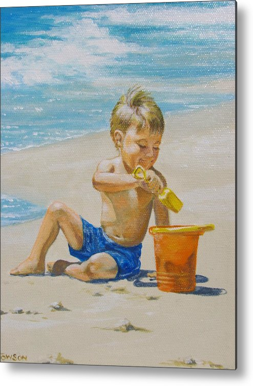 Children Metal Print featuring the painting Beach Boy by Robert Towson