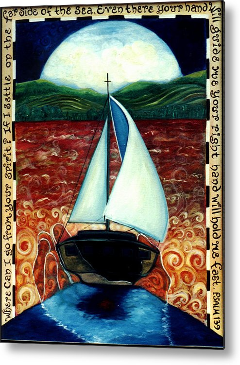 Sailboat Metal Print featuring the painting Beyond These Shores by Teresa Carter