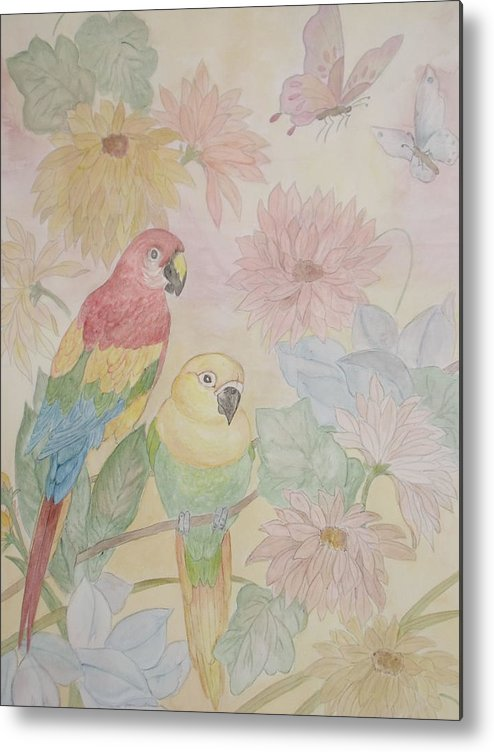 Parrots Metal Print featuring the painting Birds Of Paradise by Patti Lennox