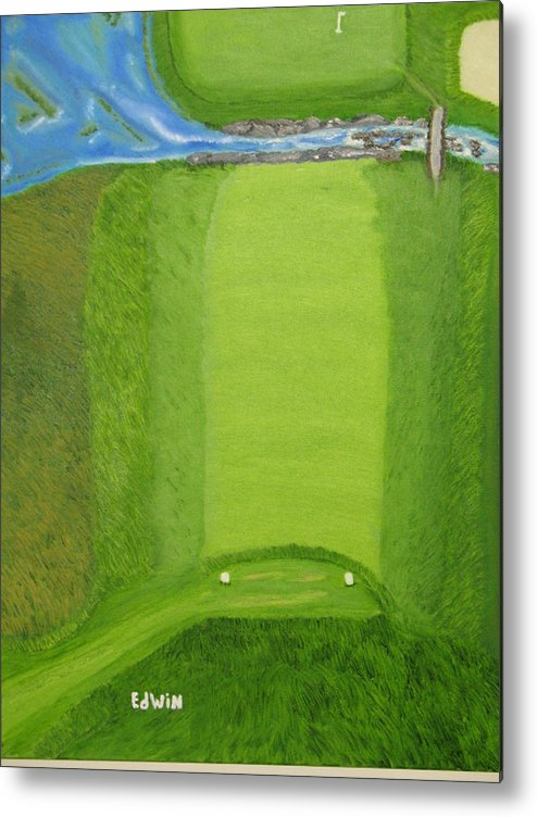 Golf Metal Print featuring the painting Blimp View Golf by Edwin Long