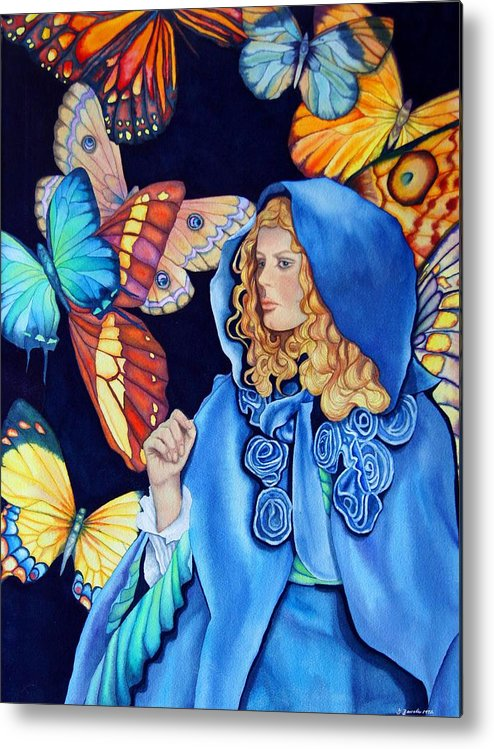 Woman/butterflies/fantasy Metal Print featuring the painting Blue Riding Hood by Gail Zavala