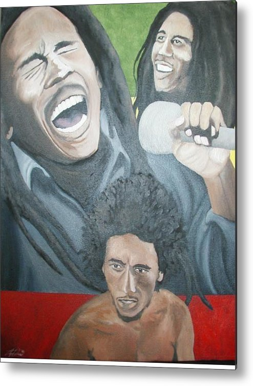 Portrait Metal Print featuring the painting Bob Marley Montage by Angelo Thomas