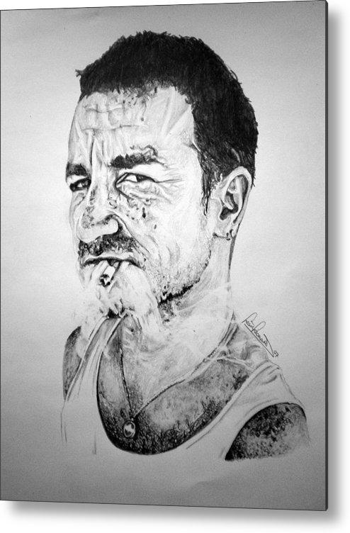 Celeb Portraits Metal Print featuring the drawing Bono by Sean Leonard