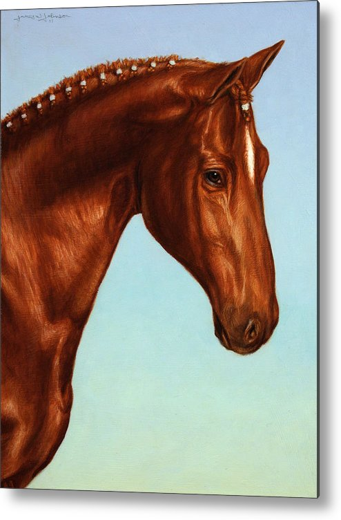 Horse Metal Print featuring the painting Braided by James W Johnson