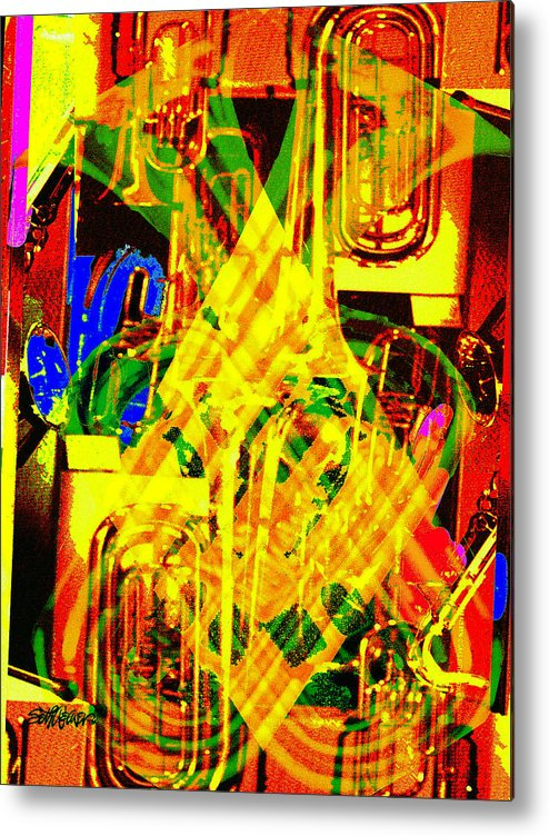 Festive Metal Print featuring the digital art Brass Attack by Seth Weaver