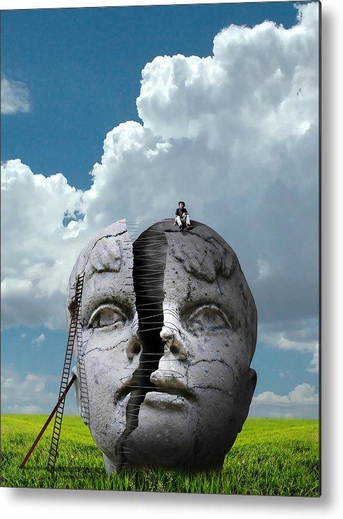 Broken Face Metal Print featuring the digital art Broken Face by Dydier Escobar