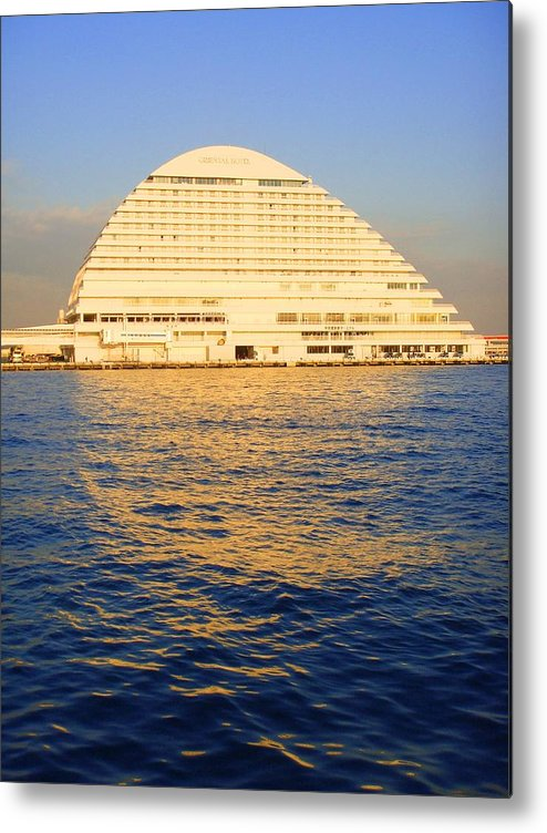 Building Metal Print featuring the photograph Building At Kobe Harbor by Roberto Alamino