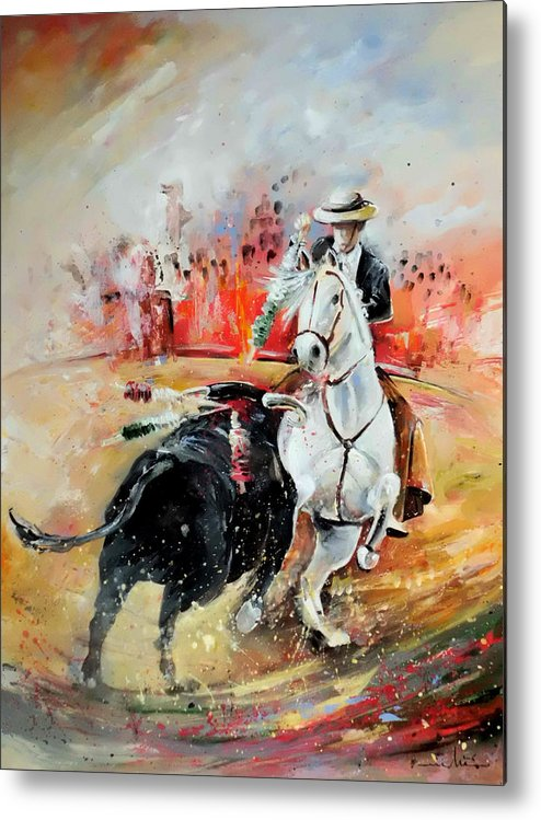 Toros Metal Print featuring the painting Bullfight 3 by Miki De Goodaboom