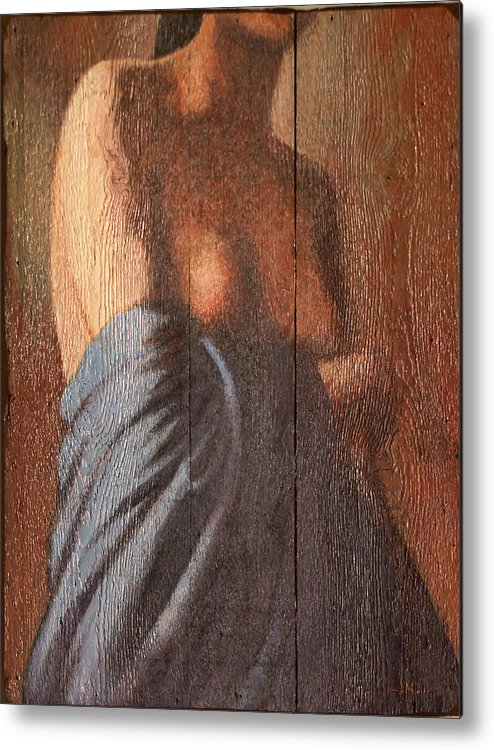 Female Torso Metal Print featuring the painting Buste On Wood by James LeGros
