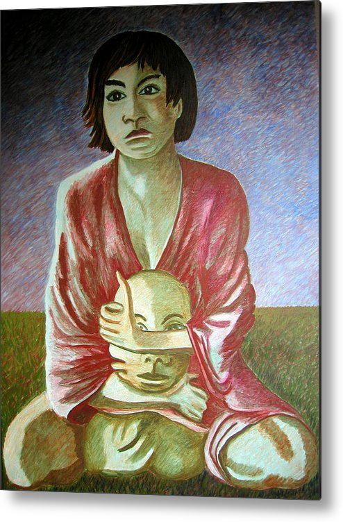 Identity (symbolic Art) Metal Print featuring the painting can we loose our identity via Alzheimer disease by Tanni Koens
