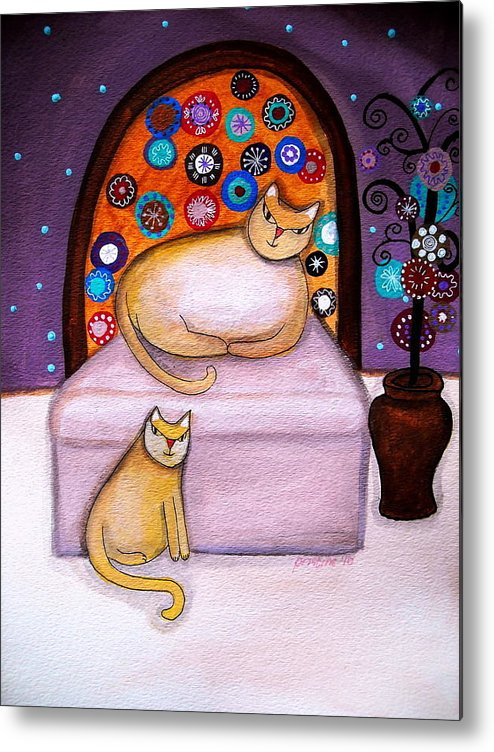Poodle Metal Print featuring the painting Cats Waiting by Pristine Cartera Turkus