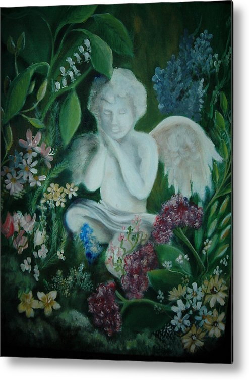 Gardens Metal Print featuring the painting Concrete Angel by Vivian Mosley