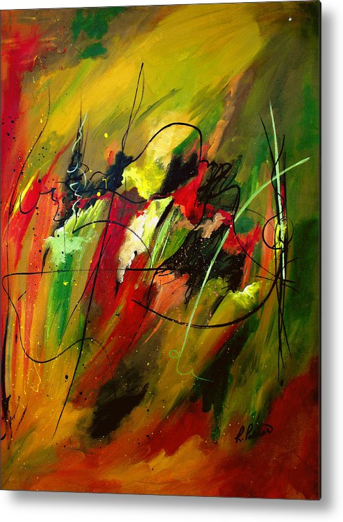 Abstract Metal Print featuring the painting Contemplating Perseverance by Ruth Palmer