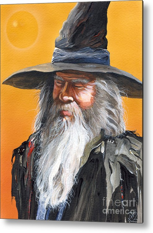 Fantasy Art Metal Print featuring the painting Daydream Wizard by J W Baker