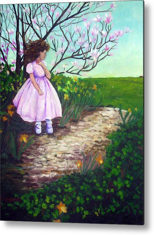 Landscape Child Girl Brunette Party Dress Flowers Impressionist Metal Print featuring the painting Easter In Hershey by Hilary England