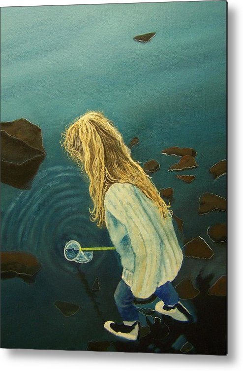 Girl Water People Figure Painting Metal Print featuring the painting Favorite Place by Charles Vaughn
