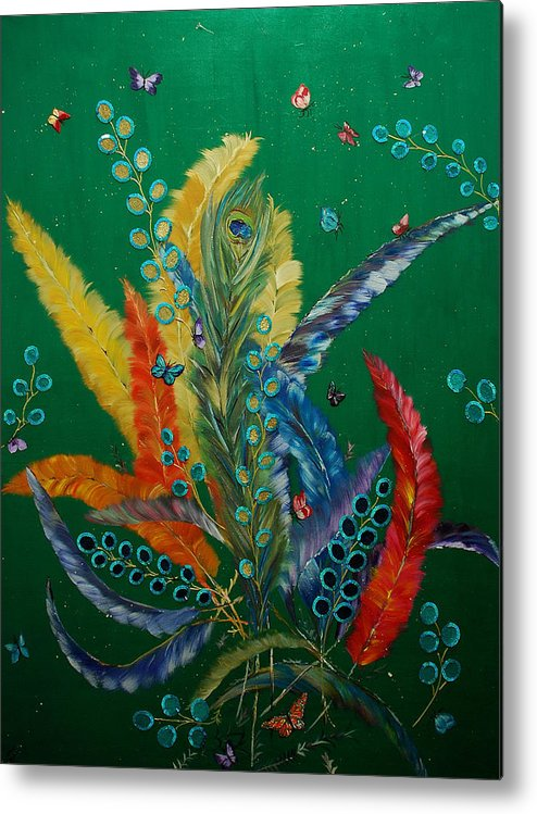 Birds Metal Print featuring the painting Feathers by Irum Iftikhar