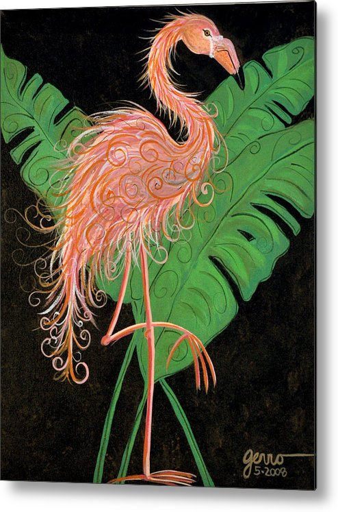 Flamingo Artwork Metal Print featuring the painting Flamingo Art Deco by Helen Gerro