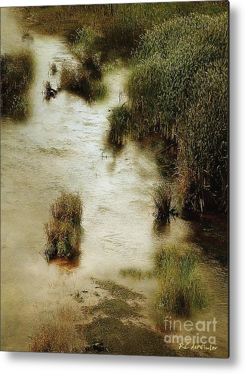 Autumn Metal Print featuring the painting Flood Tide In The Salt Marsh by RC DeWinter