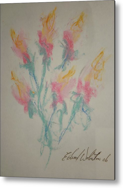 Floral Metal Print featuring the pastel Floral Study In Pastels K by Edward Wolverton