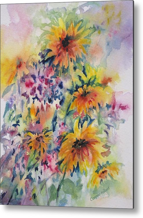 Flowers Metal Print featuring the painting Floral Symphony by Corynne Hilbert