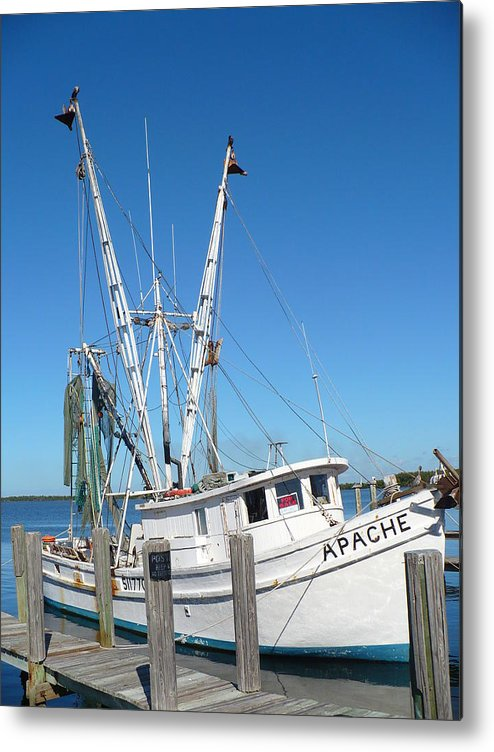 Boat Metal Print featuring the photograph Florida Shrimper by Florene Welebny
