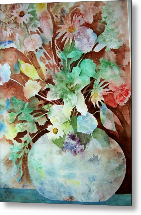 Watercolor Metal Print featuring the painting Flowers In A Vase by Audrey Bunchkowski