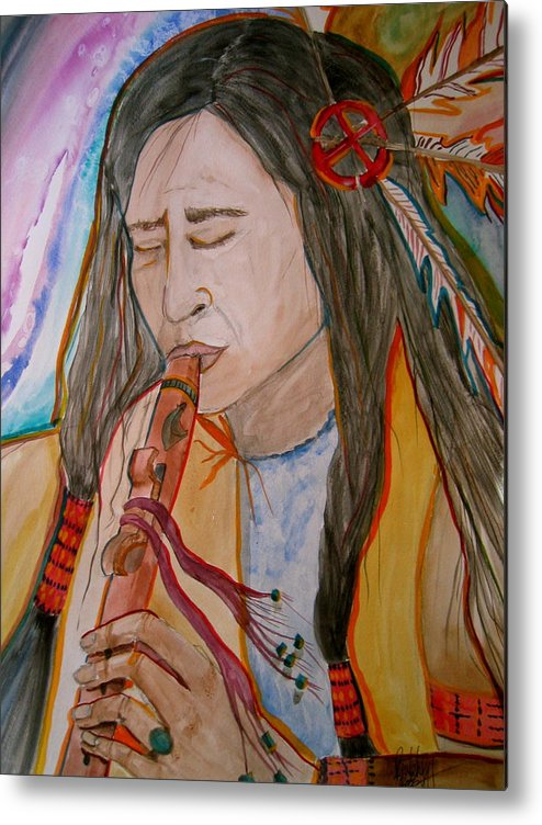 Original Art Metal Print featuring the painting Flute Player by K Hoover
