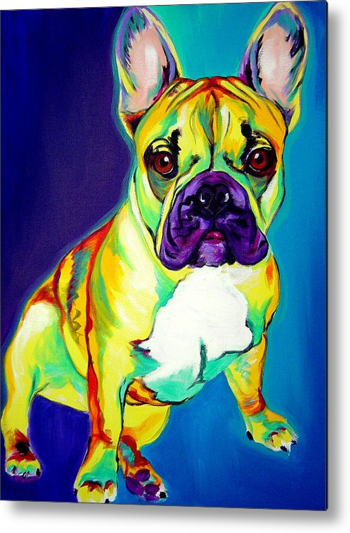 Dog Metal Print featuring the painting Frenchie - Tugboat by Alicia VanNoy Call
