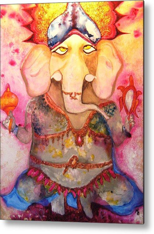Paintings Metal Print featuring the painting Ganesh by Meshal Hardie