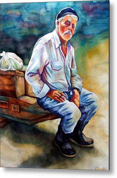 Portrait Metal Print featuring the painting Greek Fisherman by Gail Zavala