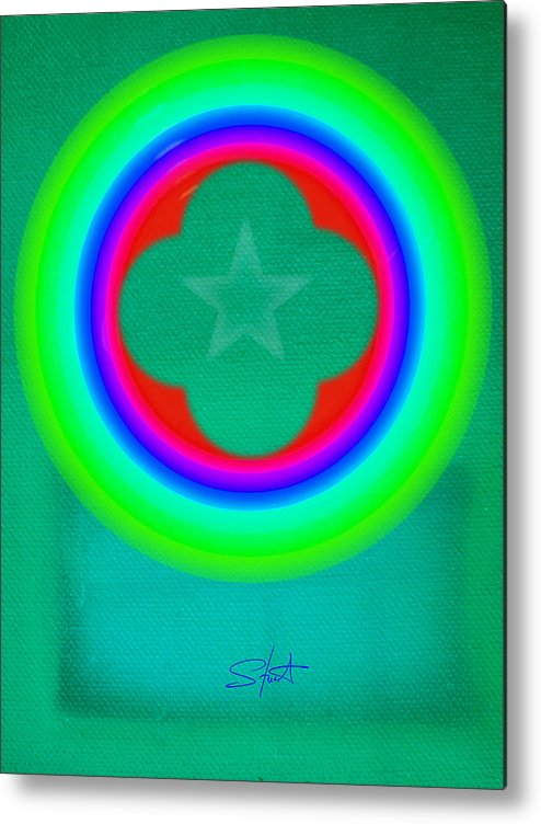 Abstract Metal Print featuring the painting Green See by Charles Stuart