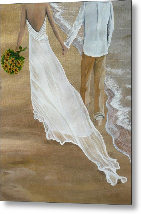 Bride And Groom Metal Print featuring the painting Hand In Hand by Kris Crollard