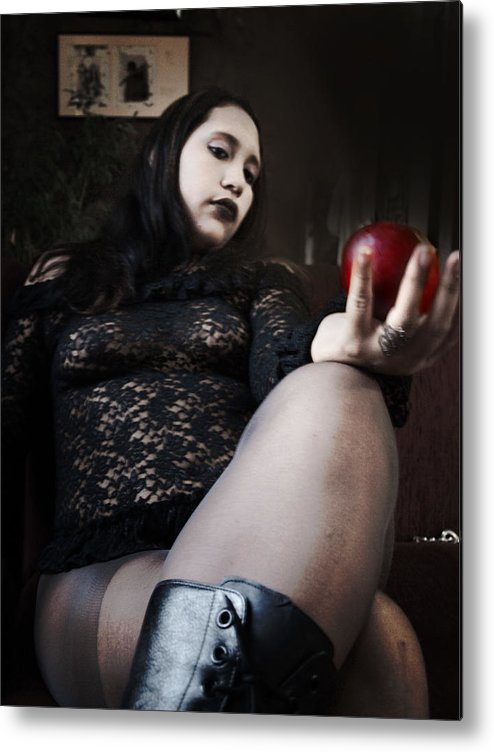 Gothic Metal Print featuring the photograph Holding Your Sins In Her Hand by Jose De la Cuadra