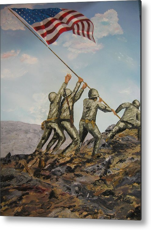 Military Art Metal Print featuring the painting Iwo Jima by Brian Hustead