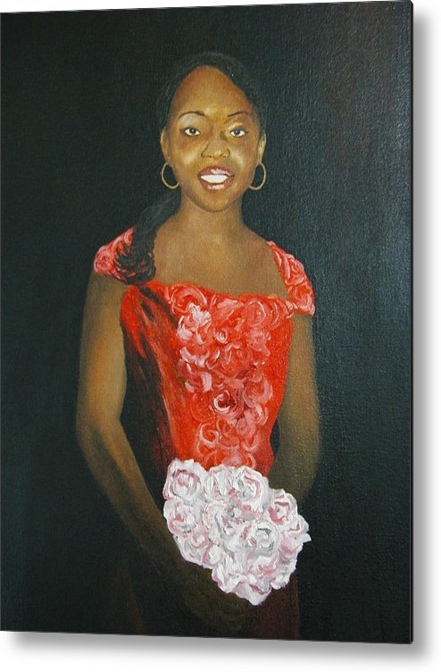 Portrait Metal Print featuring the painting Jaclyn by Angelo Thomas