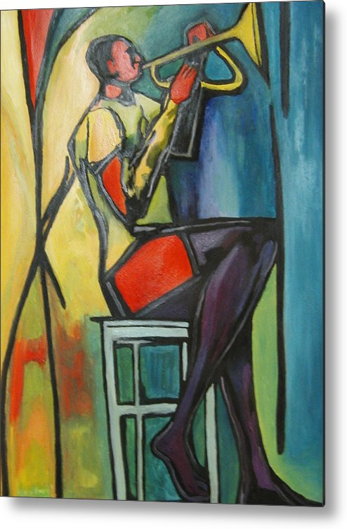 Abstract Metal Print featuring the painting Jazz Trumpet Player by Angelo Thomas